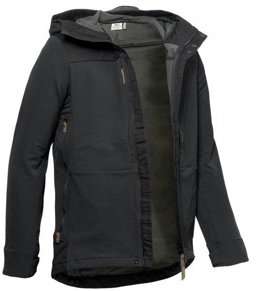 Fjällräven Keb Touring Jacket - Schwarz - Vorderansicht offen